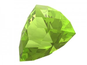 Olivine or peridot gemstone crystal