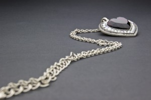 Silver necklace with heart-shaped pendant