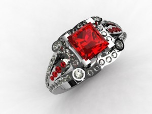 Platinum princess cut ruby ring